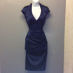Cache Sz 8 Blue Hourglass Fitted Dress